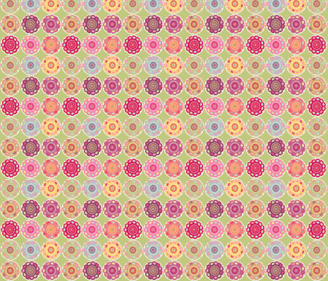 dala_horse_rond_fond_vert_S fabric by nadja_petremand on Spoonflower - custom fabric