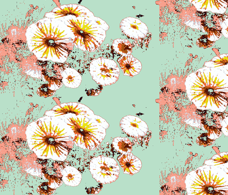 yellow flowers on green fabric by ann-dee on Spoonflower - custom fabric
