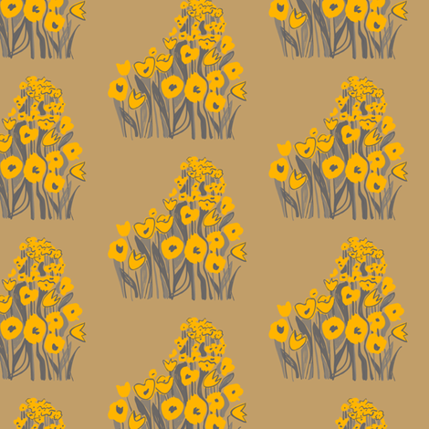 tulip march - yellow & fawn fabric by sara_smedley on Spoonflower - custom fabric