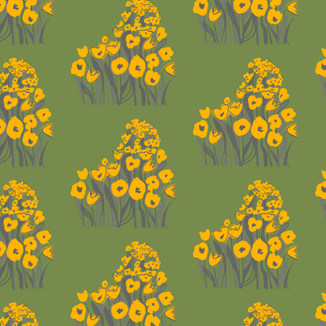 tulip march - yellow & moss fabric by sara_smedley on Spoonflower - custom fabric