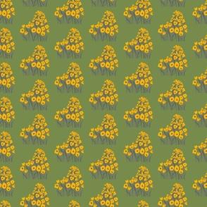 tulip march - yellow & moss