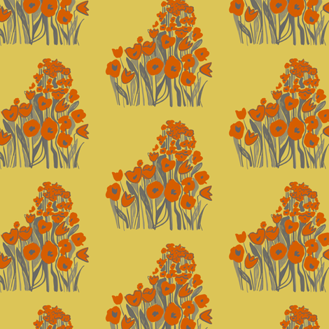 tulip march -  red & straw fabric by sara_smedley on Spoonflower - custom fabric