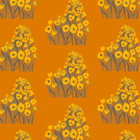 tulip march - yellow & burnt orange fabric by sara_smedley on Spoonflower - custom fabric
