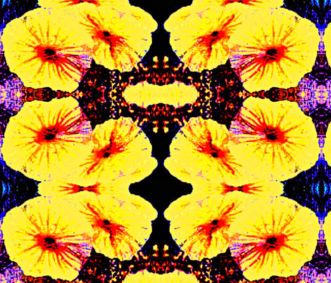 bright yellow flowers mirrored fabric by ann-dee on Spoonflower - custom fabric