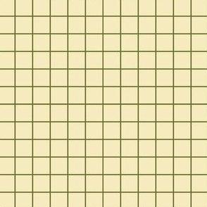 Dim Sum Grid - Olive Green on Cream