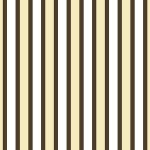 Dim Sum Party Stripe - Narrow Soy Brown Ribbons with Cream and White Rice