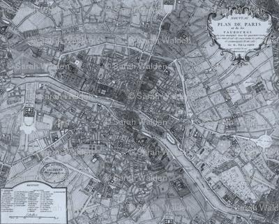 Plan de Paris ~ Paris Map ~ Blue
