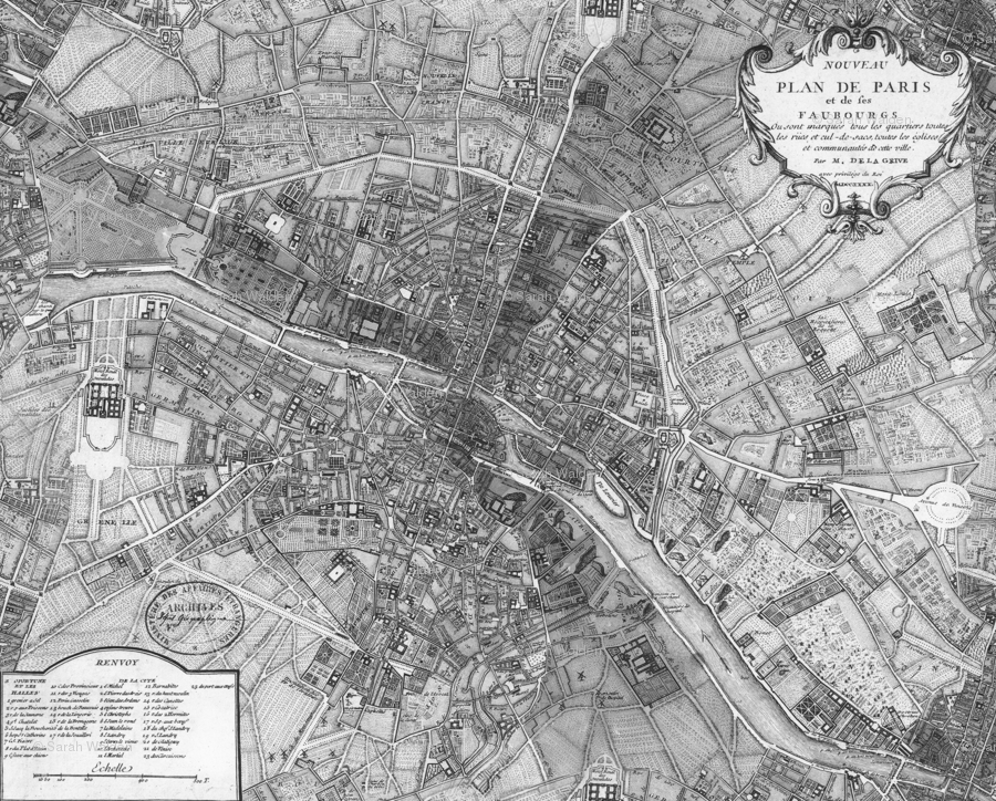 Plan De Paris ~ Paris Map ~ Black And White Wallpaper   Peacoquettedesigns    Spoonflower