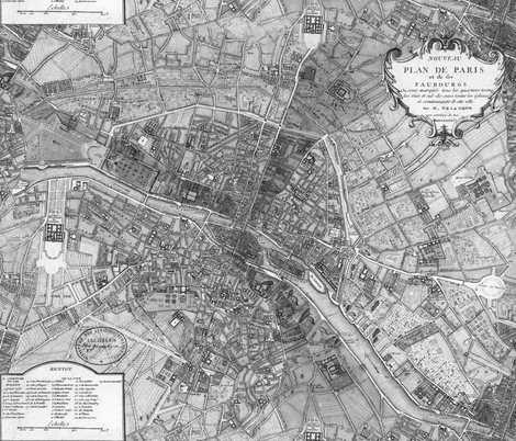 Plan De Paris Paris Map Black And White Wallpaper - Paris map fabric