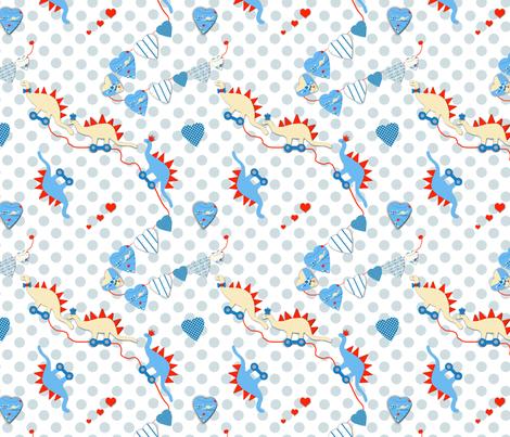Dino Love  fabric by karenharveycox on Spoonflower - custom fabric