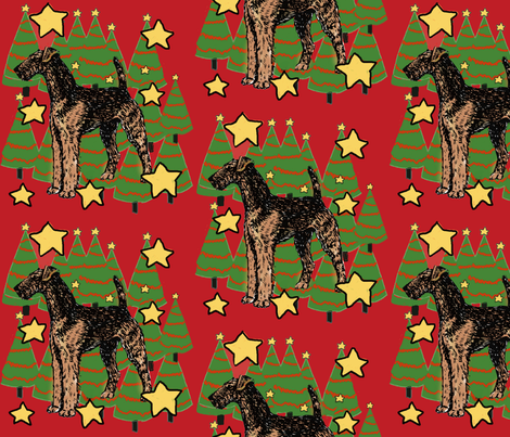 Airedale and Christmas trees fabric by dogdaze_ on Spoonflower - custom fabric