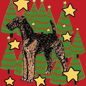 Airedale and Christmas trees