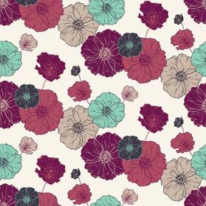 Poppies Floral - Fuschia Navy Mint on Cream