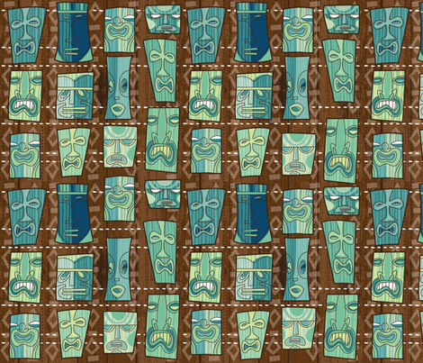 Tiki Freaks 18 wide fabric by cynthiafrenette on Spoonflower - custom fabric