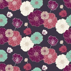Poppies Floral - Fuschia Navy