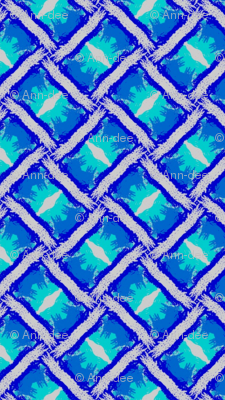 blue cross-stitched