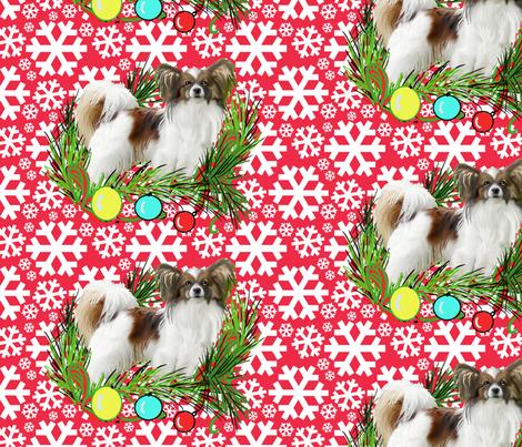 Papillon Christmas fabric by dogdaze_ on Spoonflower - custom fabric
