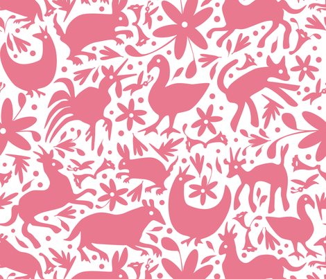 Mexico Springtime: Dusty Rose on White fabric by sammyk on Spoonflower - custom fabric