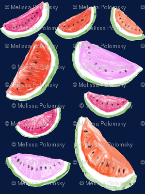 Watercolor Watermelons // Navy