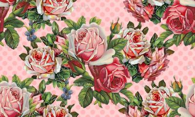 Giant Shabby Roses do the Polka
