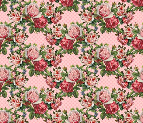 Giant Shabby Roses do the Polka  fabric by vo_aka_virginiao on Spoonflower - custom fabric