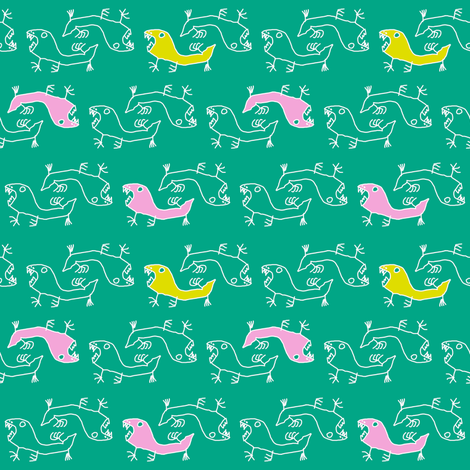 Saurian pertrol fabric by honey_gherkin on Spoonflower - custom fabric