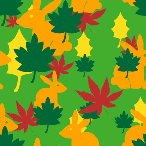 autumn bunny fabric by honey_gherkin on Spoonflower - custom fabric