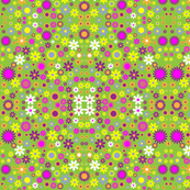 Retro Flower Field Green