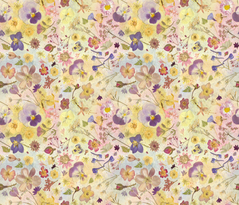 Floral Pansy watercolor Collage fabric by mypetalpress on Spoonflower - custom fabric