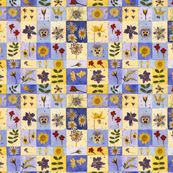 Blue Botanical Squares