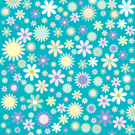Blue Vintage Flowers fabric by puggy_bubbles on Spoonflower - custom fabric