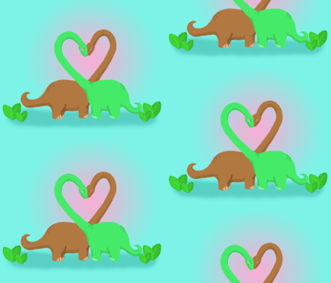 Brachiosaurus Valentine fabric by angelcallie on Spoonflower - custom fabric