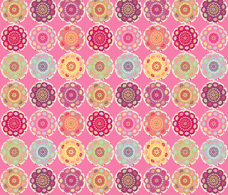 dala_horse_rond_fond_rose_M fabric by nadja_petremand on Spoonflower - custom fabric