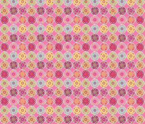 dala_horse_rond_fond_rose_S fabric by nadja_petremand on Spoonflower - custom fabric