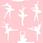 Ballerina White Silhouette on Professional Pink - Small