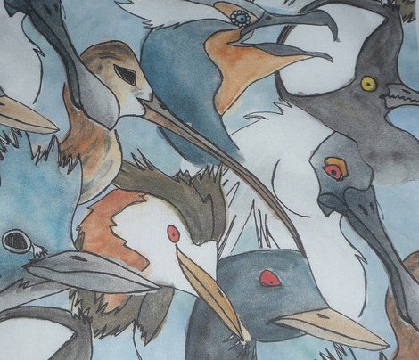 Watercolored Water Birds