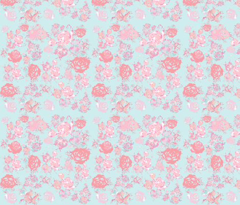Vintage floral in light peach pink mint baby blue - Light blue linen wallpaper ...