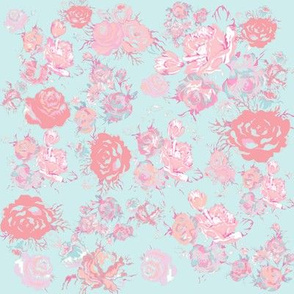 Vintage Floral in Light Peach, Pink, Mint/ Baby Blue