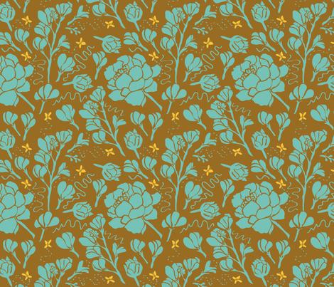 Butter Buds Aqua fabric by jacinda on Spoonflower - custom fabric