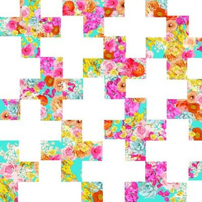 Summer Bright Floral Plus Sign Pattern