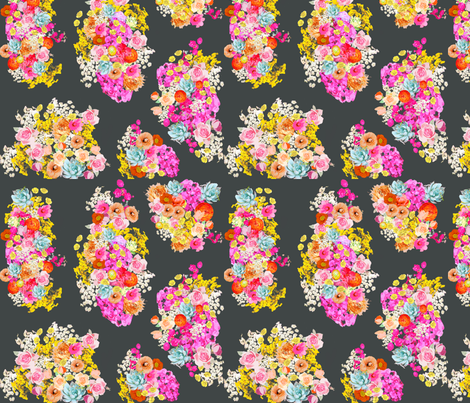 Summer Bright Floral Cluster // Charcoal fabric ...