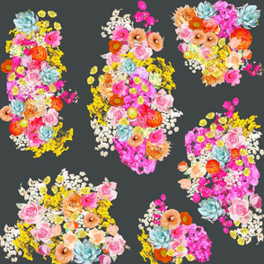 Summer Bright Floral Cluster // Charcoal
