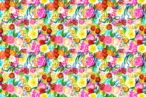 "Neon Summer Floral ""Regular"" 18"" Repeat fabric by theartwerks on Spoonflower - custom fabric"