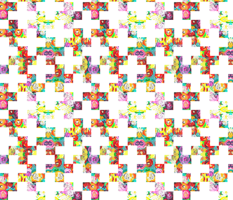 Colorful Jungle Floral Modern Plus Print fabric by theartwerks on Spoonflower - custom fabric