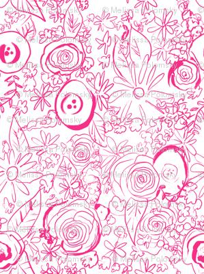 In The Garden Sketch // Medium Hot Pink