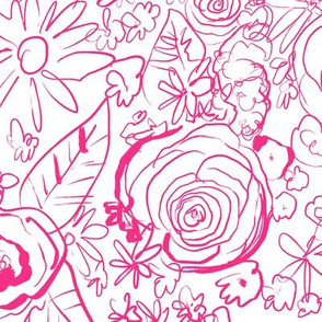 In The Garden Sketch // Medium Hot Pink