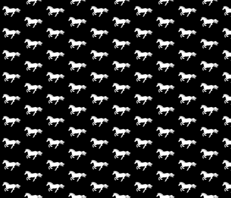 White Pony on Black fabric by thistleandfox on Spoonflower - custom fabric