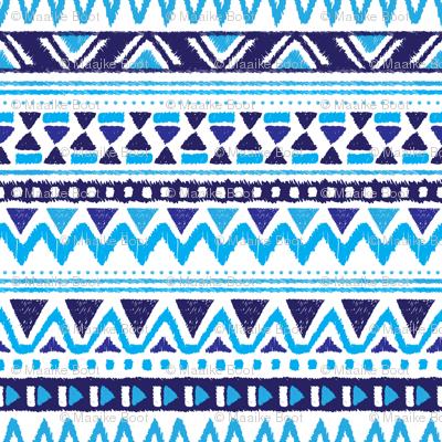 Aztec winter folkore geometric peru design blue