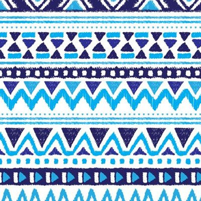 Aztec winter folkore geometric peru design blue