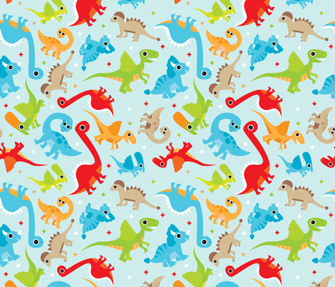 Cute dancing dino fun colorful dinosaur design for boys fabric by littlesmilemakers on Spoonflower - custom fabric